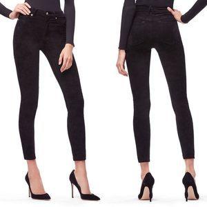 Good American Good Legs Crop Suede Black 0/25 NWOT